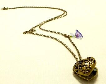 Heart locket, heart charm, heart necklace, vintage necklace, bird necklace, romantic necklace, charm necklace, Handmade by Marumadrid