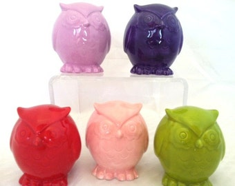 Pink Ceramic Owl Figurine Decoration Collectible - Owl Cake Topper