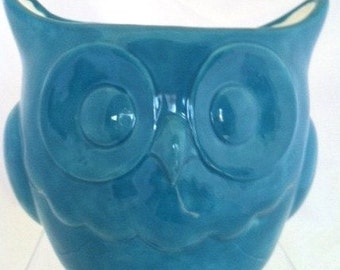 Ceramic Owl Planter - Ceramic Owl Flower Pot - Turquoise - Aqua Blue - Utensil Holder