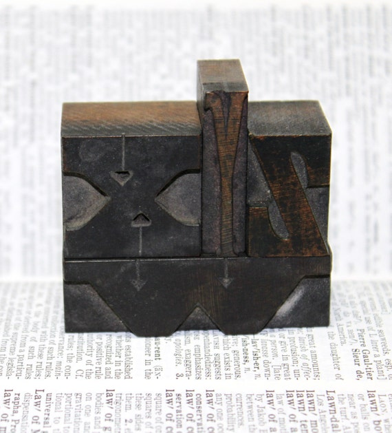 Antique letterpress letter wxyz - the collection measures 2.25 inches by 2.25 inches - wood