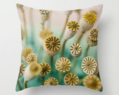 Pillow Case - Poppy Pods - Nature Landscape Home Decor - Green Yellow - Pillow Cover  - Fine Art Pillow - 18x18