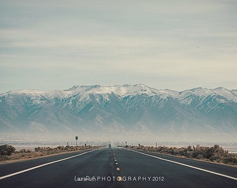 "Landscape Photography - Foggy Mountain Photography - Travel Photo - Open Road - Hipster Home Decor - Fine Art Photography - ""ROAD TRIP"""