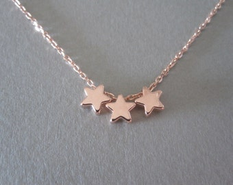 Triple Rose Gold Star Necklace