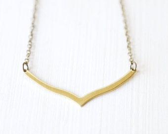Modern Brass Chevron Necklace - Simple everyday minimalist jewelry