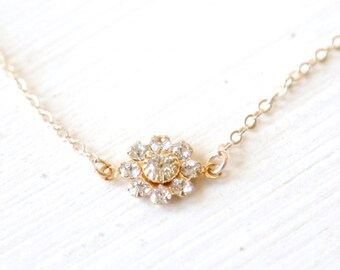 Clear Blossom Necklace / 14k gold filled chain / simple everyday modern delicate jewelry