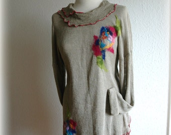 Linen Knitted Grey Tunic Sweater With Felt Flower Appliques Fibre Art Eco Friendly Clothing Natural M L Size