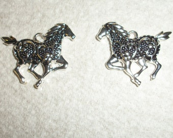 silver plated and black swirl western horse charms, set of 2