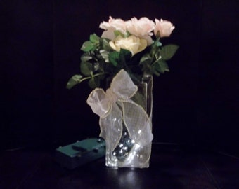 Battery Operated LED Lighted Vase w/ Ribbon and Flowers