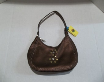Small Brown Leather Purse with Studs