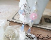 Swarovski Crystals Pale pink and Icy Blue Floral Ethereal Mismatched Asymmetric Earrings - Faerie Garden