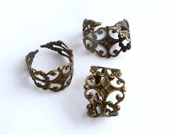 4pcs Antique brass finish filigree, adjustable ring