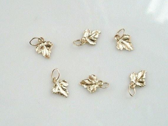 6 pcs 14K Gold filled tiny maple leaves (8x14mm)