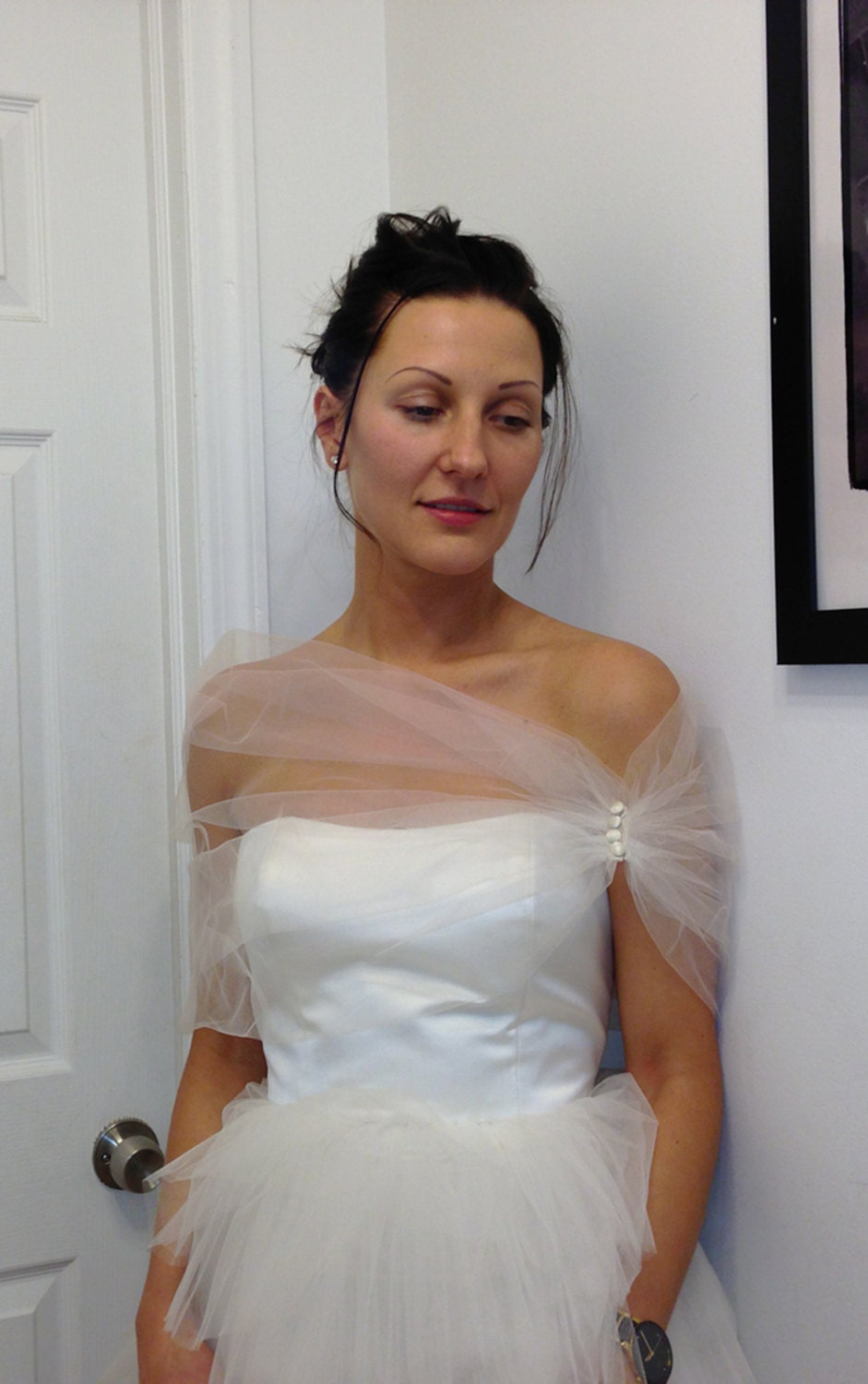 Tulle shrug shawl stole wedding for Wedding dress with shrug