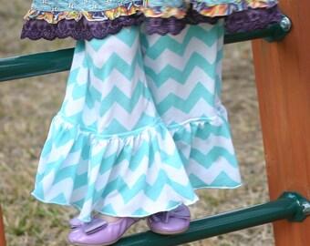 turquoise blue and white chevron print knit ruffle pants big ruffles sizes 12m - 14 girls