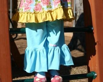 turquoise blue knit ruffle pants big ruffles sizes 12m - 8 girls