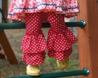 red with white polka dot knit leggings with double ruffles sizes 12m - 14