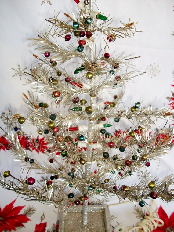 Vintage Tinsel Christmas Tree Wired Silver Tinsel Various