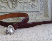 Boho Chic Prairie Heart Leather Belt Made In USA