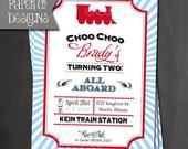 Printable Vintage Train Birthday Invitations - Customizable - Digital File ONLY