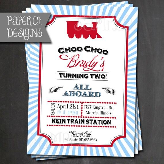 printable vintage train birthday invitations customizable,