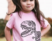 Dinosaur on Pink American Apparel T Shirt