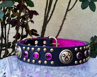 Antique Brass and Fuschia Celtic Leather Dog Collar