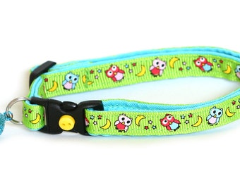 Owl Cat Collar - Night Owls on Green- Small Cat / Kitten Size or Large Cat Collar