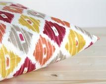 Orange and Gold Ikat Pillow Sham 18x18 Ikat Cushion Cover - Ikat Diamond Spice