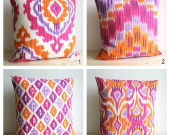 Orange and Pink Ikat Pillow Cover, Ikat Cushion Cover, Pillow Sham, Pillow Covers, Accent Pillows - Ikat Tangerine Collection
