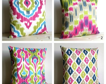 Cerise and Green Ikat Pillow Cover, Ikat Pillow Sham, Ikat Cushion Cover, Pillow Cover, Sofa Pillow Cover - Ikat Cerise Collection