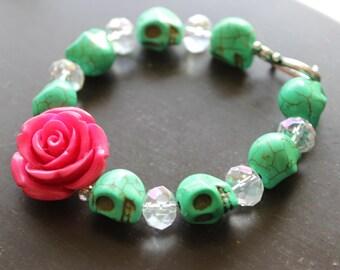 Zombie Green Sugar Skull Bracelet Halloween jewelry