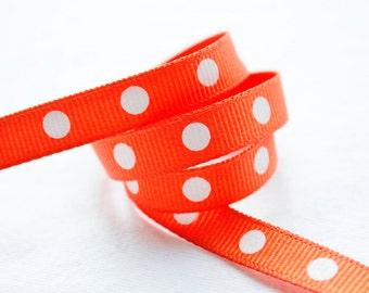 Orange Polka Dots 3/8 inch Grosgrain Ribbon - Choose 1, 5, 10, 20 or 50 yards - Hairbow Supplies, Etc.