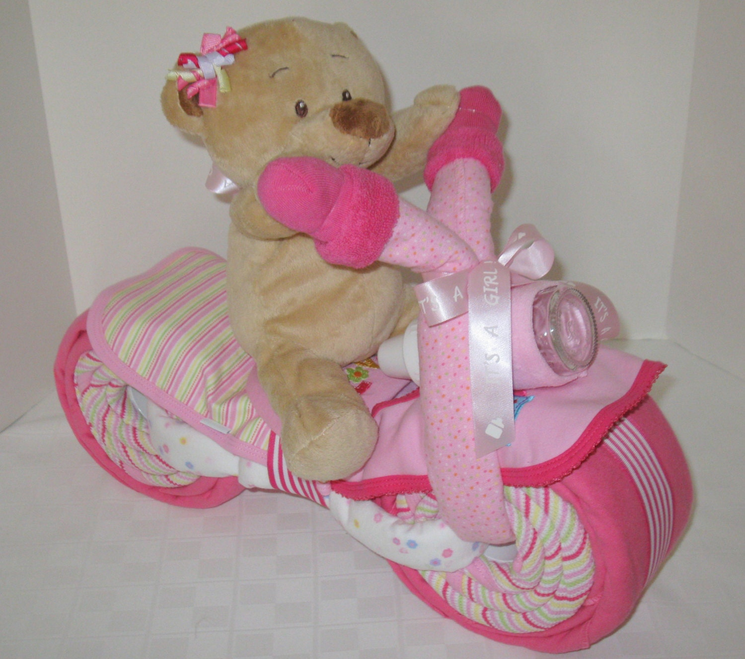 Baby Gift Nappy Cake : Diaper cake motorcycle bike baby shower gift