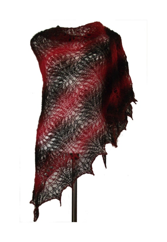 Red & black  soft delicate kid mohair lacy triangle shawl scarf Red Night