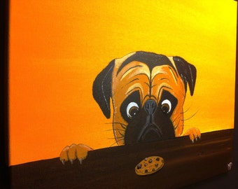 Pug Painting-  The Last Cookie- by Michael H. Prosper
