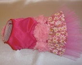 Couture Dog Harness Party Dress - Any Size - Pink Satin Daisy
