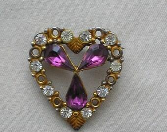 Vintage Amethyst Crystal Sweet Heart Brooch