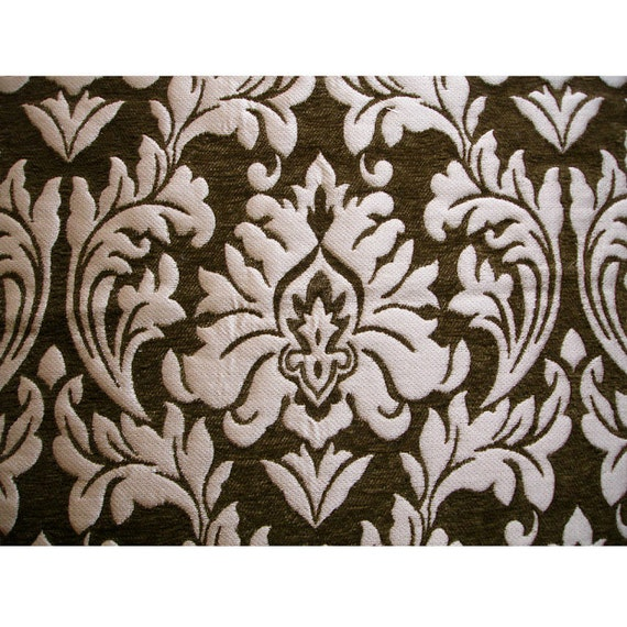 Olive Green Chenille Damask Curtain Fabric Upholstery Fabric