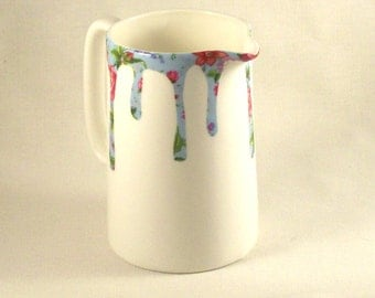 Blue foral drip patterned white bone china pitcher from Wales