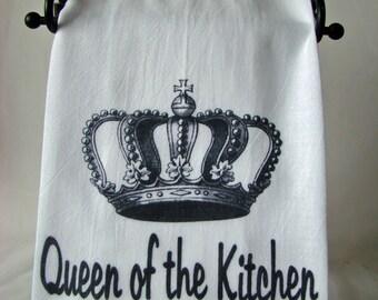 Queen of the Kitchen Tea towel -  flour sack kitchen dish towel - black and white