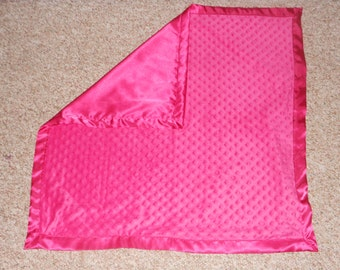 Personalized Hot Pink Minky Blanket 30 x 30