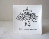 herb gardner cartoon ash tray - 1958 - white glass