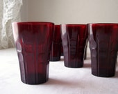 vintage ruby red juice glass - anchor hocking high point - set of eight tumblers