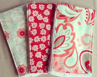 Bundle of burp cloths: Verona girly prints - READY TO SHIP