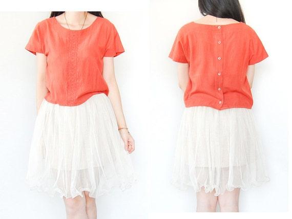 ON FINAL CLEARANCE - Miss Sunshine Vintage Salmon Orange Short Sleeve Cropped Blouse