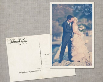 "Vintage Wedding Thank You Cards / Wedding thank yous / Wedding Thank You Cards / Postcard Wedding Thank You - the ""Magdalena"""