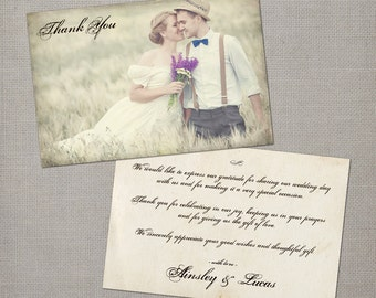 "Vintage Wedding thank you card / Wedding Thank You Cards / Thank you Cards / Vintage cards / Thank you card - the ""Ainsley"""