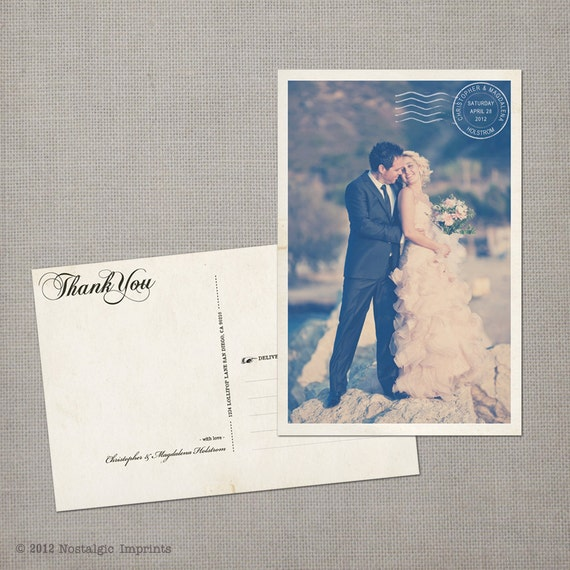 "Vintage Wedding Thank You Postcards - the ""Magdalena"""