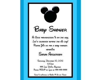 Mickey Mouse Inspired Baby Shower Invitation -  Great for a Boy - You Print