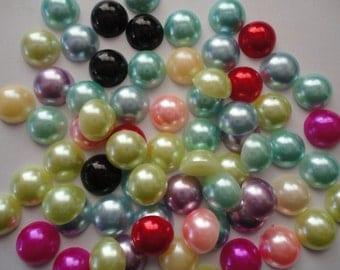 Random mix colors AB pearl flatback decoden deco diy 10 mm   50 pcs---USA seller